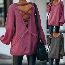 Solid Color Round Neck Backless Long Sleeve Loose Sweatshirt