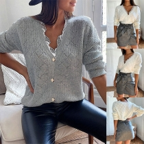 Sweet Solid Color Lace Spliced V-neck Long Sleeve Knitted Top