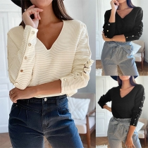 Solid Color V-neck Button Long Sleeve Top