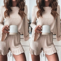 Solid Color Round Neck Trumpet Sleeve Top+Shorts Two-piece Set