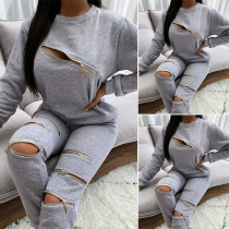 Sexy Solid Color Round Neck Zipper Long Sleeve Sweatshirt Set