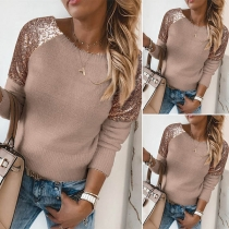 Solid Color Round Neck Sequin Spliced Long Sleeve Knitted Top