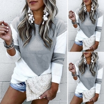 Fashion Contrast Color Round Neck Long Sleeve Knitted Top
