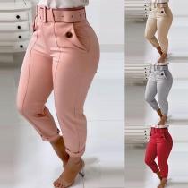Solid Color High-waist Slim Fit Pants with Belt