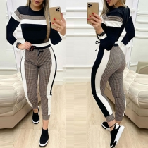 Fashion Plaid Spliced Long Sleeve Round Neck Top + Pants Two-piece Set