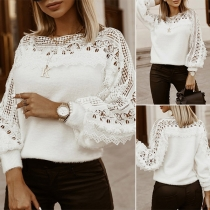 Fashion Hollow Out Lace Spliced Lantern Sleeve Round Neck Knitted Top
