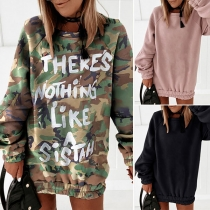 Loose Solid Color Round Neck Long Sleeve Sweatshirt Dress