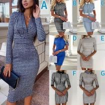 OL Style POLO Collar High Waist Slim Fit Plaid Dress