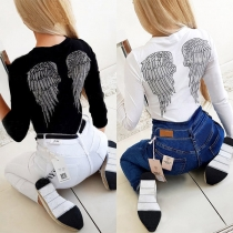 Solid Color Round Neck Wing Printed Long Sleeve Slim Fit Top