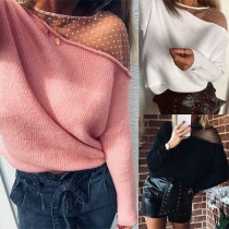 Sexy See-through Gauze Spliced Long Sleeve Round Neck Knitted Top
