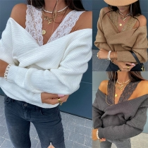 Sexy Off-shoulder Lace Spliced Long Sleeve Solid Color Knitted Top