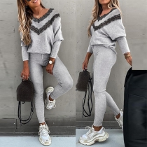 Fashion Lace Spliced V-neck Top + Pants Two-piece Set