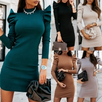 Simple Style Puff Sleeve Mock Neck Solid Color Slim Fit Dress