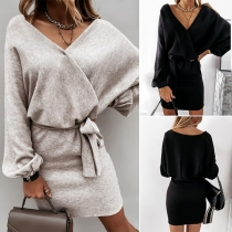 Sexy V-neck Long Sleeve Solid Color Dress