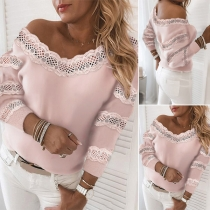 Fashion Lace Spliced Long Sleeve V-neck Solid Color Top