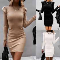Simple Style Long Sleeve Round Neck Solid Color Slim Fit Dress