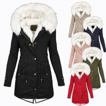 Solid Color Faux Fur Spliced Hooded Plush Lining Long Sleeve Padded Coat