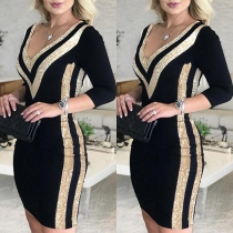 Sexy V-neck Sequin Spliced Long Sleeve Slim Fit Dress