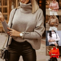 Fashion Solid Color Long Sleeve Turtleneck Pullover Sweater