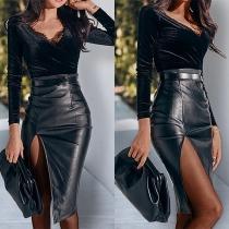 Sexy High Waist Slit Hem PU Leather Skirt
