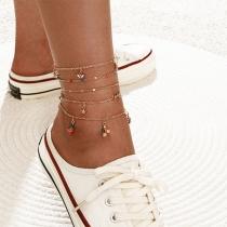 Fresh Style Strawberry Fruit Pendant Anklet Set 5 pcs/Set