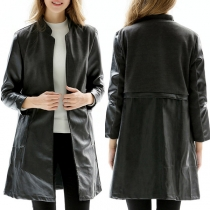 Fashion Solid Color Long Sleeve Stand Collar PU Leather Coat