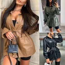 Fashion Solid Color Long Sleeve POLO Collar PU Leather Jacket with Waist Strap