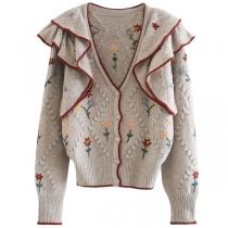 Fashion Long Sleeve V-neck Ruffle Embroidery Knit Cardigan