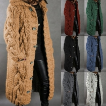 Fashion Solid Color Long Sleeve Hooded Knit Cardigan