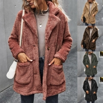 Fashion Solid Color Long Sleeve Notched Lapel Plush Coat