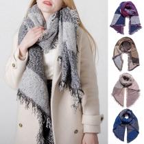 Fashion Contrast Color Tassel Scarf