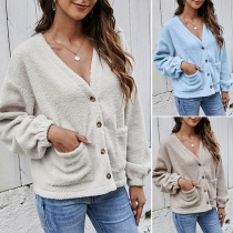 Fashion Solid Color Long Sleeve V-neck Plush Coat