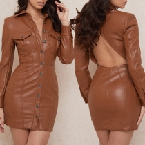 Sexy Backless POLO Collar Long Sleeve Slim Fit PU Leather Dress
