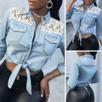 Sexy Long Sleeve POLO Collar Knotted Hem Lace Spliced Denim Top