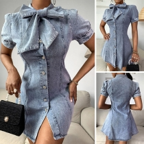 Fashion Lace-up Bow-knot Collar Short Sleeve Slim Fit Denim Dress