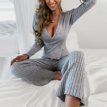 Sexy Deep V-neck Long Sleeve Top + Pants Two-piece Set