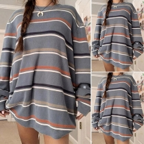Fashion Long Sleeve Round Neck Loose Striped Knit Top