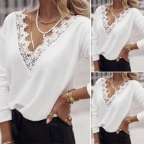 Fashion Lace Spliced V-neck Long Sleeve Solid Color T-shirt