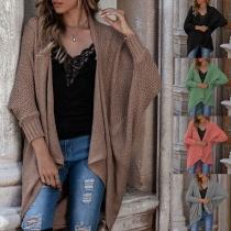 Fashion Solid Color Dolman Sleeve Irregular Hem Knit Cardigan