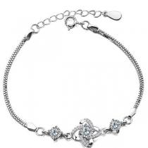 Fashion Rhinestone Inlaid Silver-tone Four Leaf Clover Bracelet