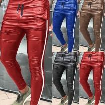 Fashion Striped Spliced High Waist Man's PU Leather Pants