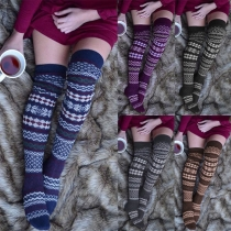 Fashion Contrast Color Printed Over-the-knee Knit Socks
