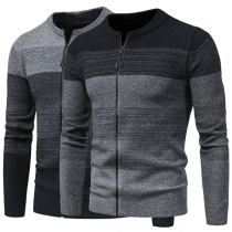 Fashion Contrast Color Long Sleeve Round Neck Man's Knit Cardigan