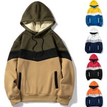 Fashion Contrast Color Long Sleeve Hooded Man's Sweatshirt