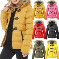 Fashion Faux Fur Spliced Hooded Horn Button Padded Coat