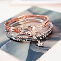 Fresh Style Rhinestone Inlaid Star Pendant Bracelet