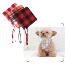 Fashion Contrast Color Plaid Triangle Scarf for Pets