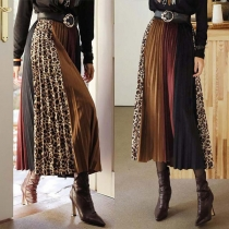 Fashion High Waist Contrast Color Pleated Skirt
