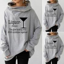 Casual Style Long Sleeve Hooded Letters Printed Loose Sweatshirt