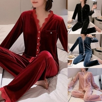 Fashion Lace Spliced V-neck Long Sleeve Top + Pants Home-wear Two-piece Set